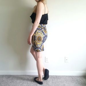 Ann Taylor Patterned Blue and Yellow Pencil Skirt